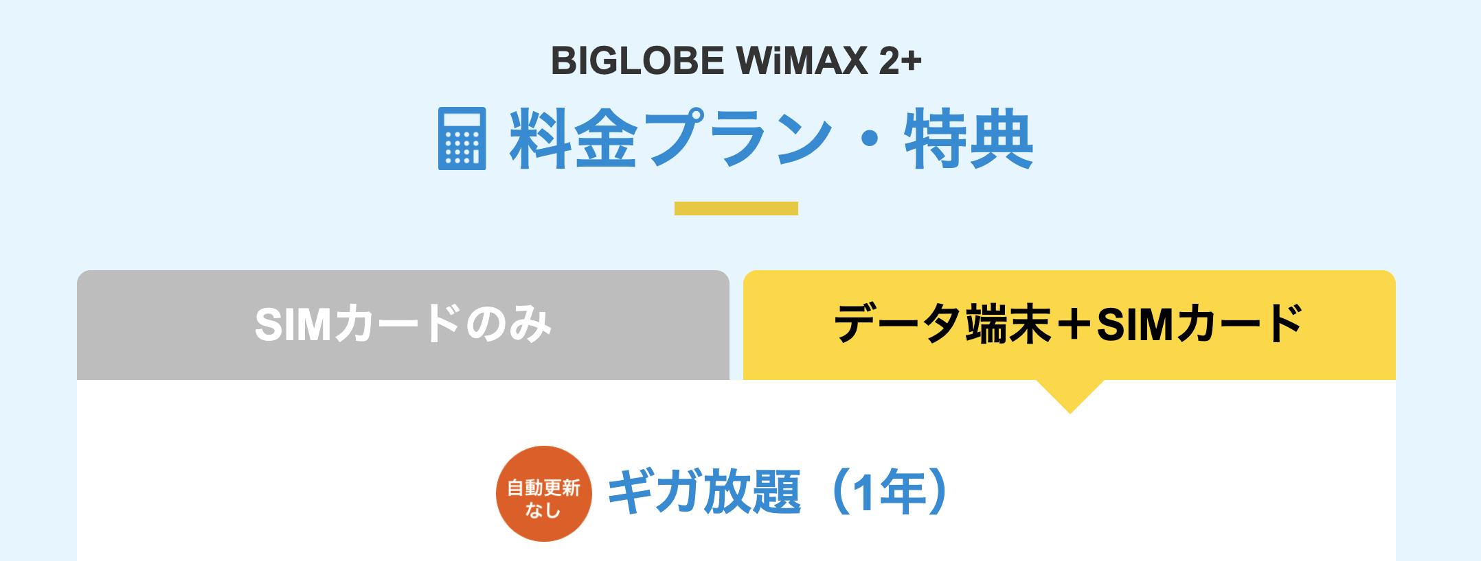 BIGLOBE WiMAXの料金プラン