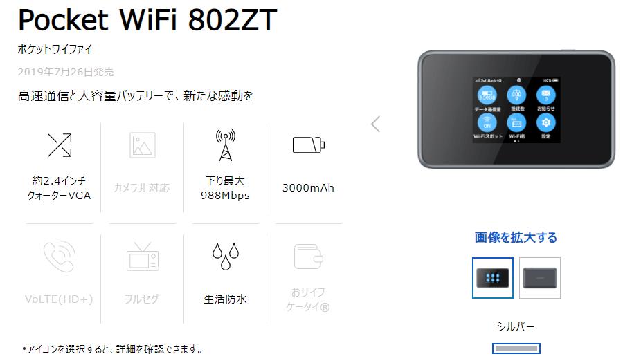 ポケットWiFi802ZT(Softbank)