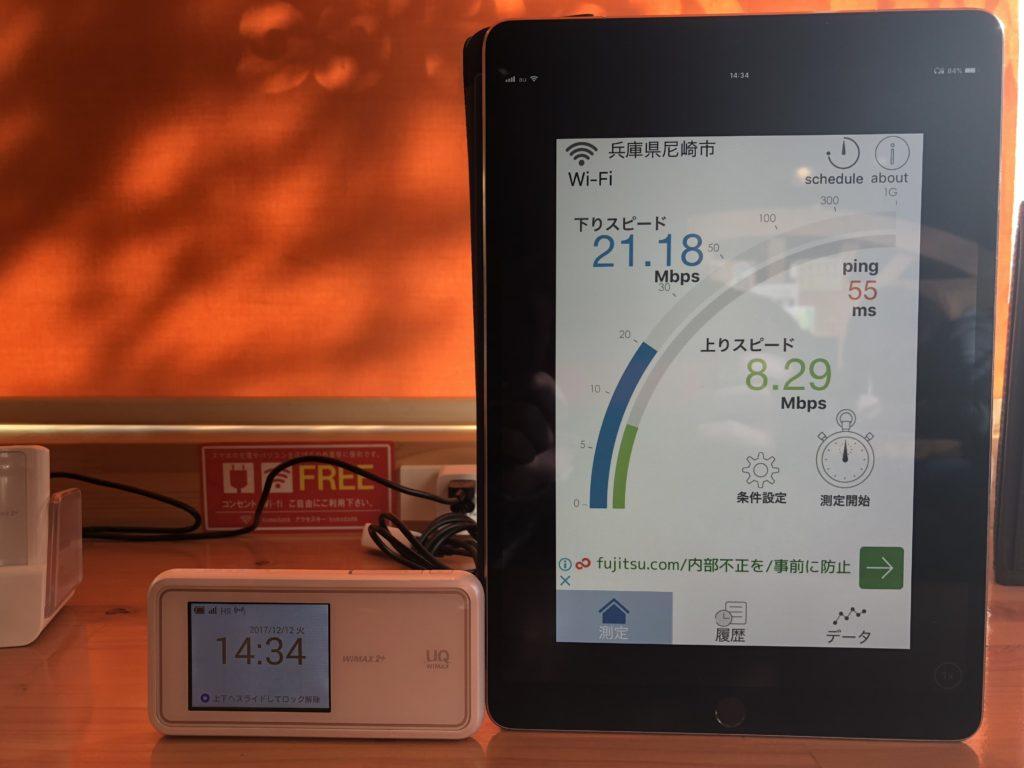 WiMAXのW02の速度計測