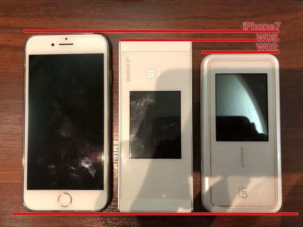 iphone7-w05-w02でサイズ比較