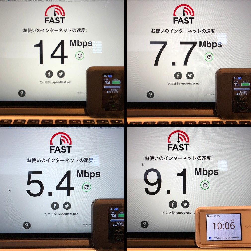 NEXTモバイルとWiMAXの速度比較結果