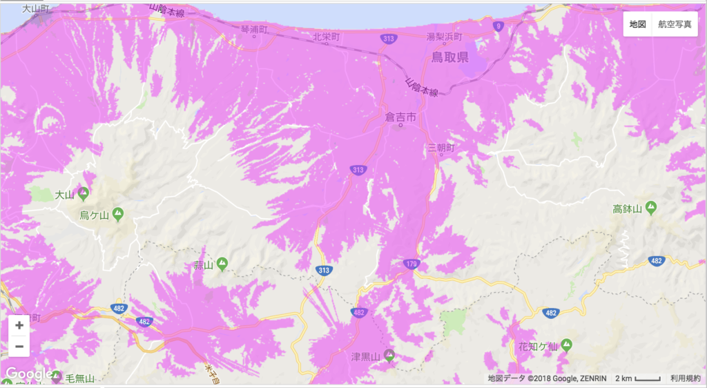 倉吉市のWiMAX2+の電波状況