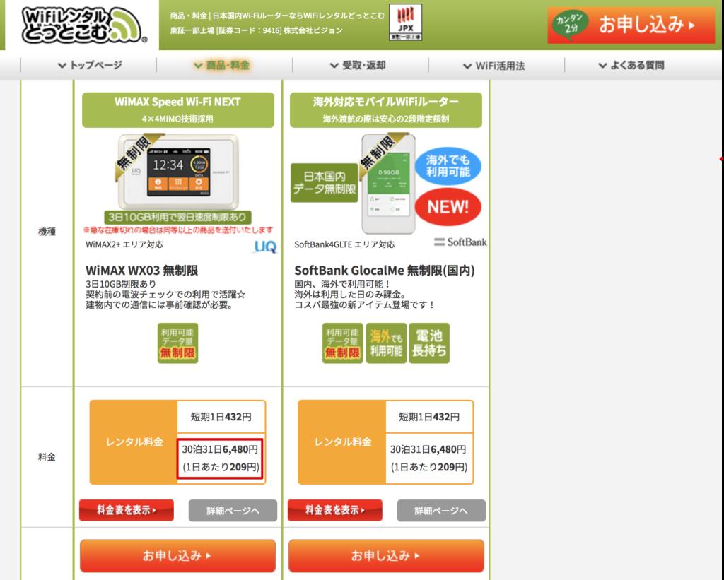WiMAXレンタルの1ヶ月の料金