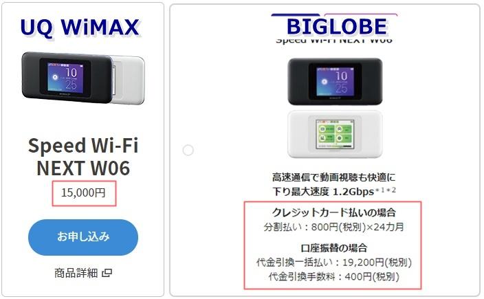 UQ WiMAXとBIGLOBE WiMAXの端末代金