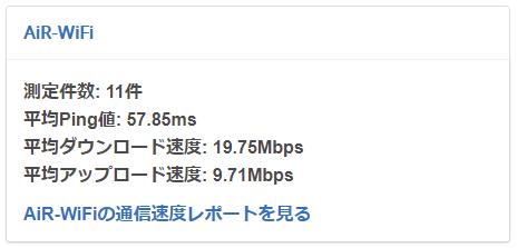 AiRWiFi平均速度