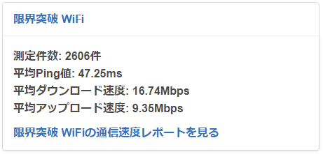 限界突破WiFi平均速度