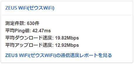 ZeusWiFi平均速度