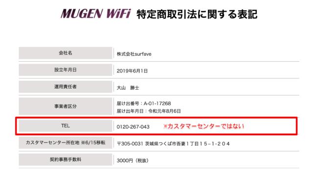 MugenWiFiの特定商取引法ページ