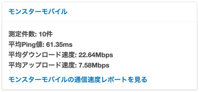 MONSTER MOBILEの通信速度
