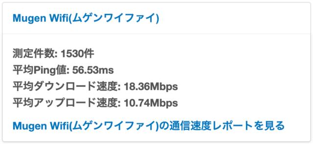 Mugen WiFiの通信速度