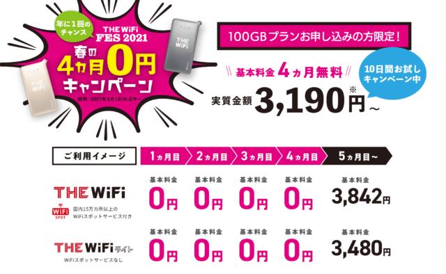 THE WiFi 春の4ヵ月0円キャンペーン
