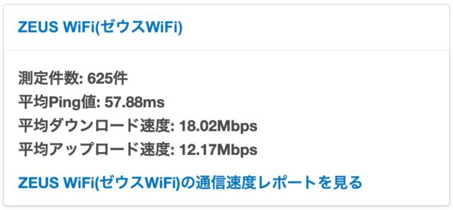 ゼウスWiFiの通信速度